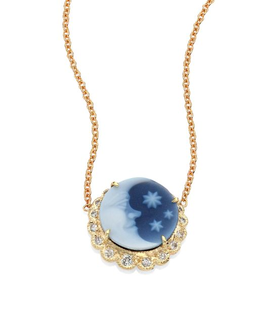 Jacquie Aiche | Blue Moon & Stars Diamond & 14k Yellow Gold Cameo Necklace | Lyst