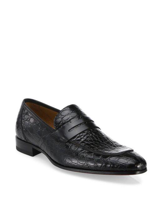 Mezlan | Black Crocodile Penny Loafers for Men | Lyst
