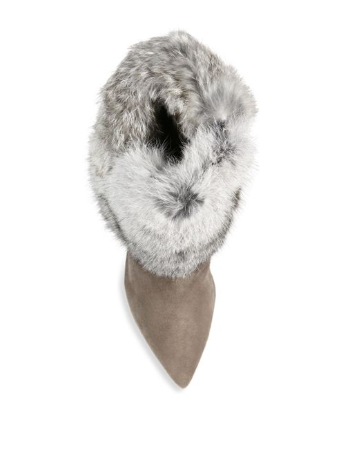 Schutz Henriette Suede & Rabbit Fur Booties in Multicolor ...