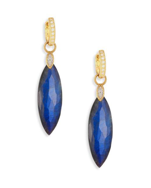 Jude Frances   Blue Lisse Diamond, Labradorite & Black Onyx Doublet Elongated Earring Charms   Lyst