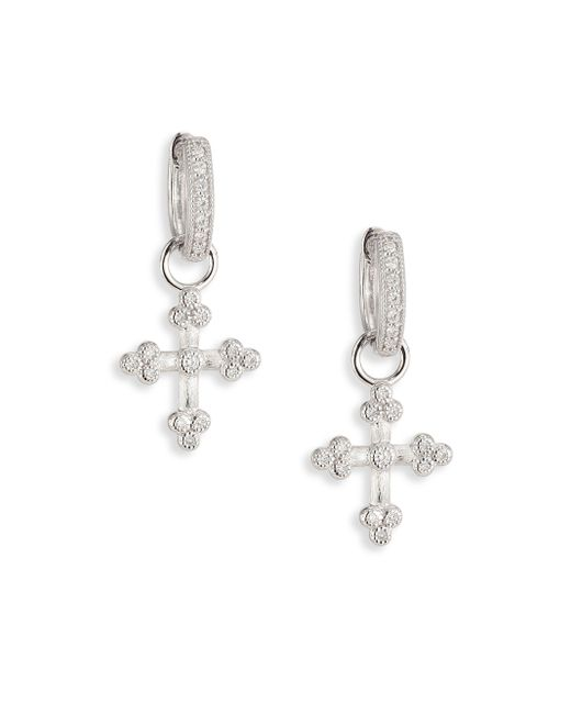 Jude Frances | Metallic Provence Tiny Cross Diamond & 18k White Gold Earring Charms | Lyst