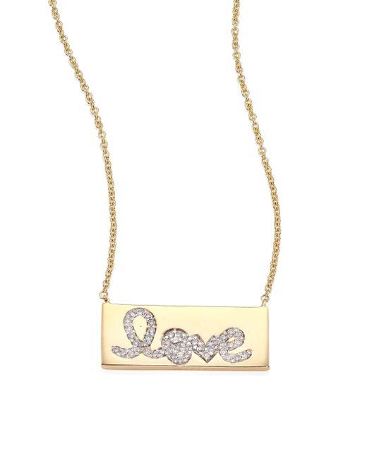 Sydney Evan | Metallic Pave Love Bar Diamond & 14k Yellow Gold Pendant Necklace | Lyst