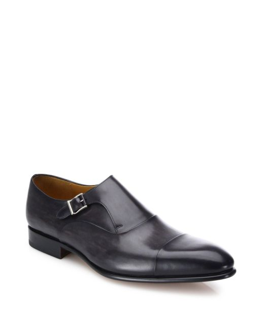 Saks Fifth Avenue | Gray Leather Single Strap Monk Loafers for Men | Lyst