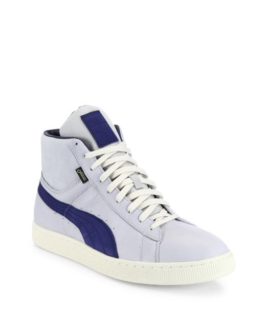PUMA   Gray Striped Leather Mid-top Sneakers for Men   Lyst