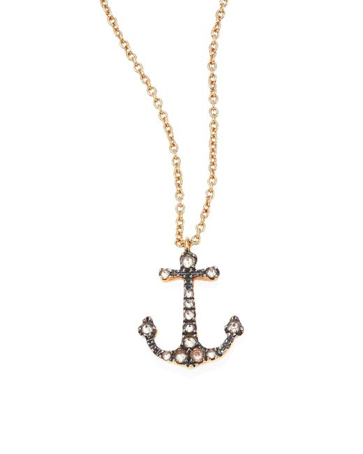Annoushka | Metallic Love Diamonds & 18k Rose Gold Anchor Pendant Necklace | Lyst
