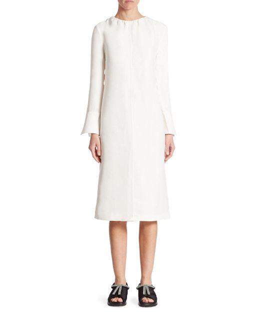 Marni   White Crinkled Chiffon Midi Dress   Lyst