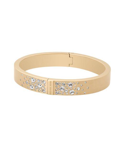 Michael Kors   Metallic Modern Brilliance Crystal Hinged Bangle Bracelet/goldtone   Lyst