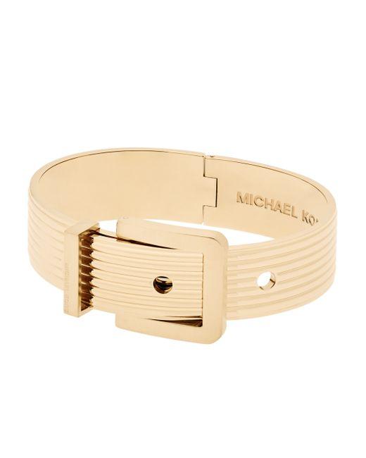 Michael Kors | Metallic Wide Ribbed Padlock Buckle Bracelet/goldtone | Lyst