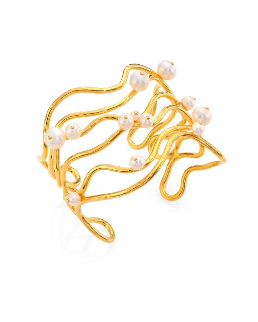 Aurelie Bidermann | Metallic Cheyne Walk Wire & Freshwater Pearl Cuff Bracelet | Lyst