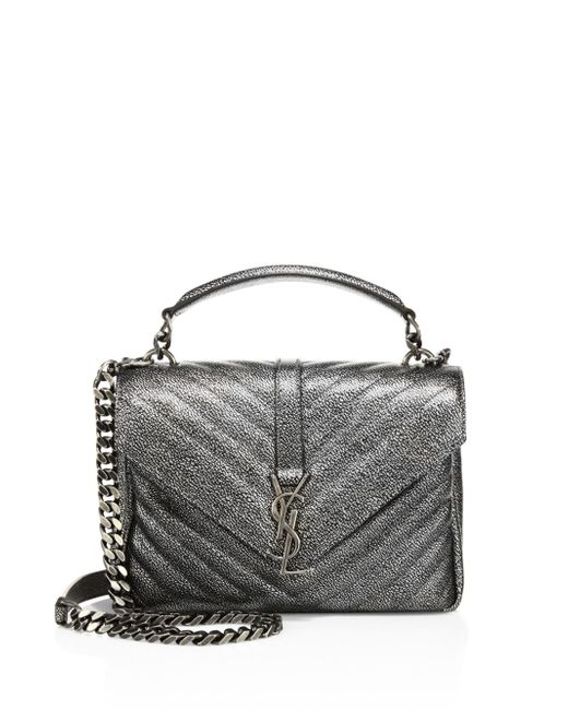 Saint Laurent | Monogram Medium Matelasse Metallic Leather College Bag | Lyst