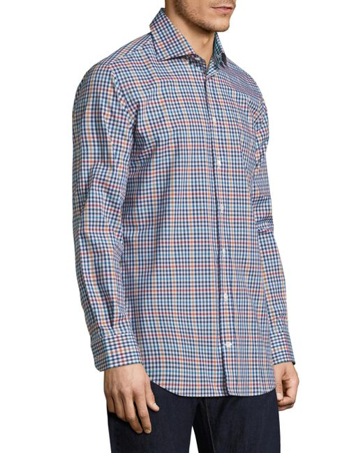 Luciano barbera gingham casual button down shirt in blue for Blue gingham button down shirt