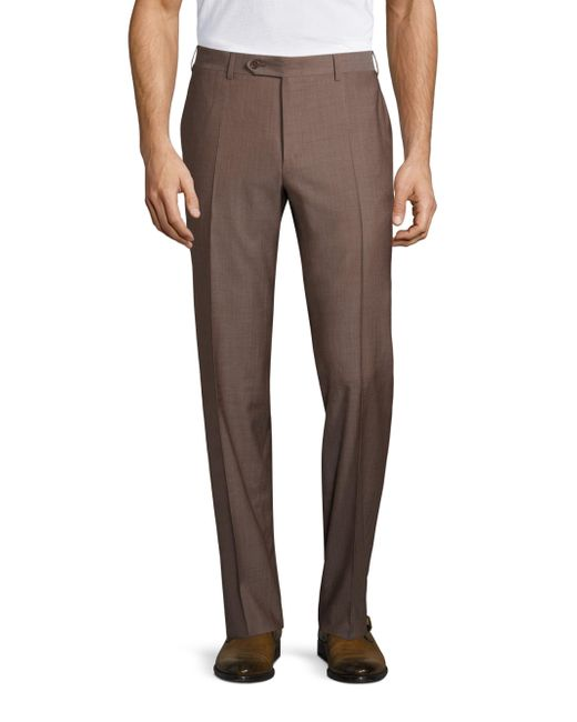 Canali | Brown Regular-fit Wool Trouser for Men | Lyst