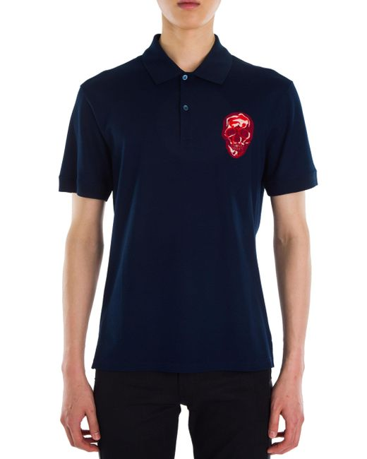Alexander mcqueen skull embroidered patch polo in blue for