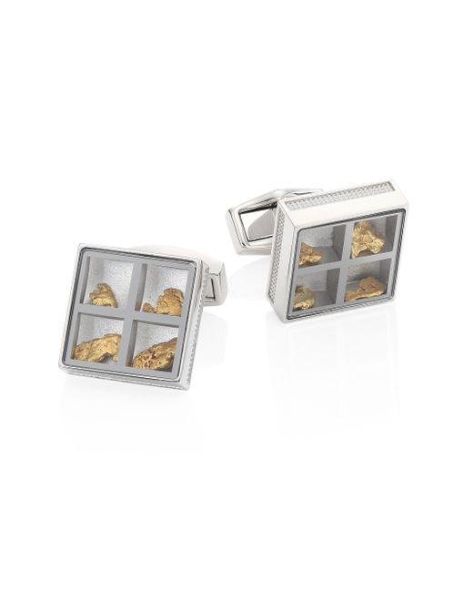 Tateossian | Metallic Precious Window Diamonds, Gold Nuggets & Stainless Steel Cuff Links | Lyst