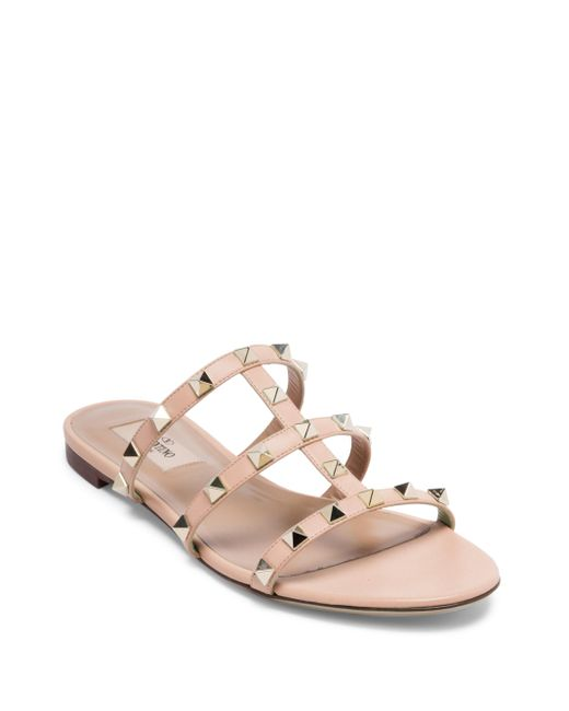 Valentino Rockstud Leather Cage Slides In Pink Lyst