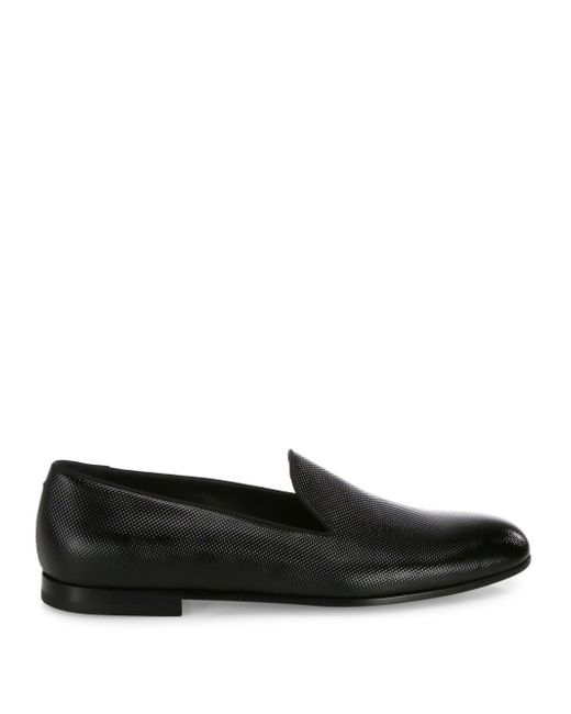 Giorgio armani Textured Patent Leather Slip-on Dress Shoes ...