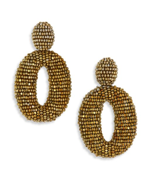 Oscar de la Renta | Metallic Beaded Clip-on Earrings | Lyst