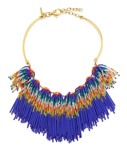 Lele Sadoughi | Blue Striped Beaded Fringe Bib Necklace | Lyst