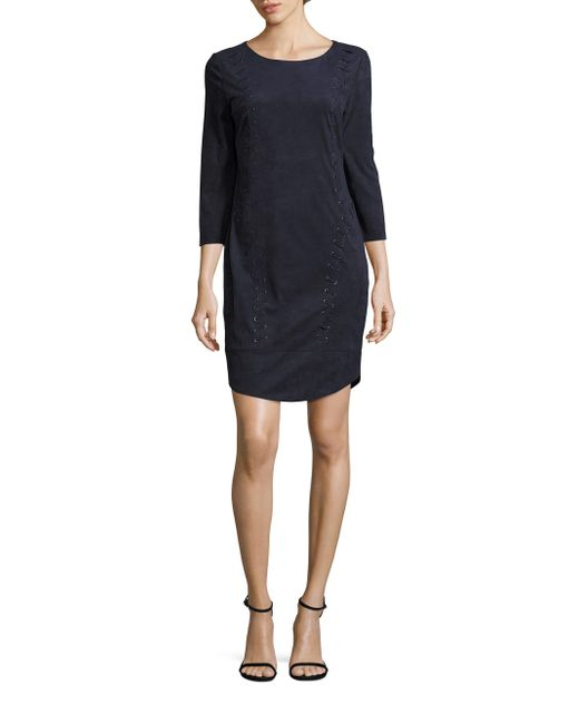 Laundry by Shelli Segal   Blue Faux Suede Lace-up Dress   Lyst