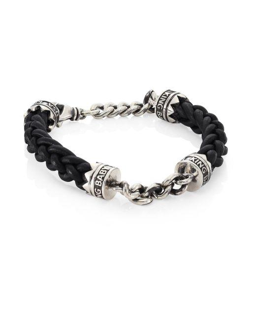 King Baby Studio | Metallic Sterling Silver Chain & Braided Leather Lanyard Bracelet for Men | Lyst