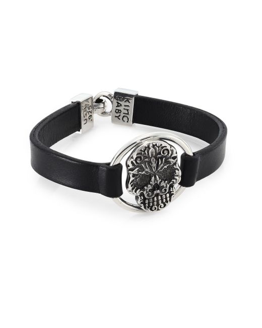 King Baby Studio | Black Sterling Silver Baroque Skull Centerpiece Leather Strap Bracelet | Lyst
