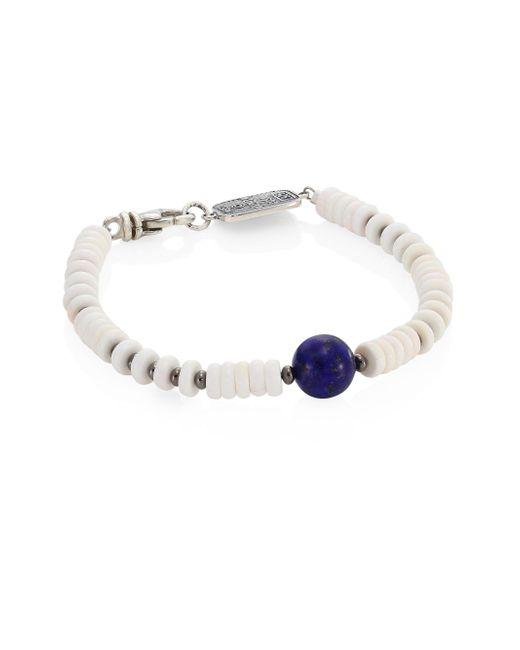 King Baby Studio | Sterling Silver, Round Lapis & White Shell Bead Bracelet | Lyst