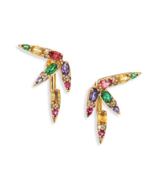 Nikos Koulis | Metallic Spectrum Brown Diamond, Tsavorite, Iolite, Pink Tourmaline, Yellow Beryls & Rhodolite Ear Jacket | Lyst