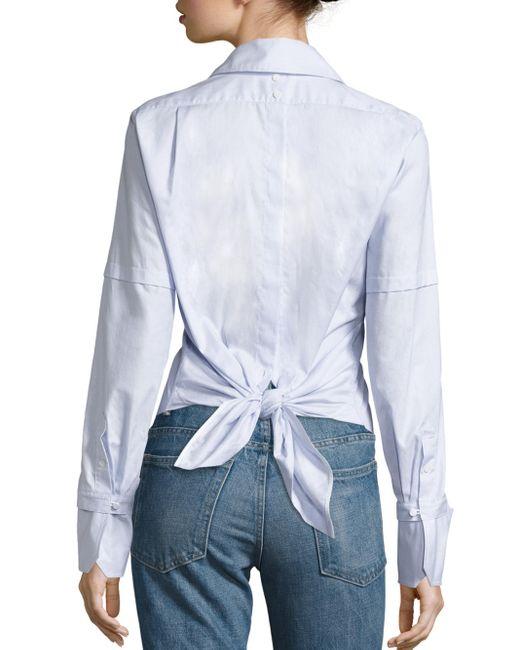 Helmut Lang | Blue Cotton Poplin Tie-back Tuxedo Shirt | Lyst