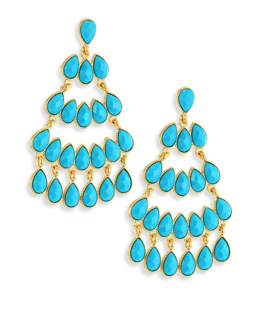 Kenneth Jay Lane | Blue Faux Turquouise Chandelier Earrings | Lyst