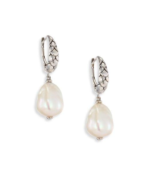 John Hardy   Metallic Legends Naga 11mm White Baroque Pearl & Sterling Silver Dangle Drop Earrings   Lyst
