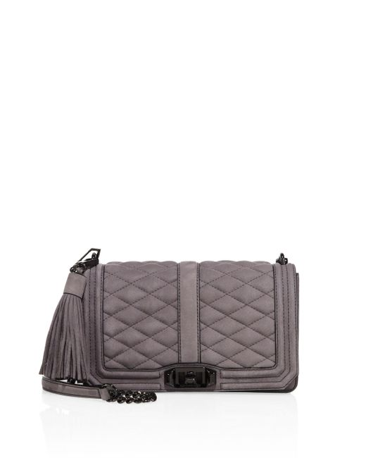 Rebecca Minkoff | Gray Quilted Love Nubuck Crossbody Bag | Lyst