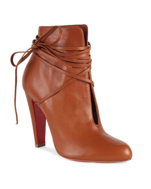 Christian Louboutin | Brown S.i.t. Rain 100 Leather Booties | Lyst