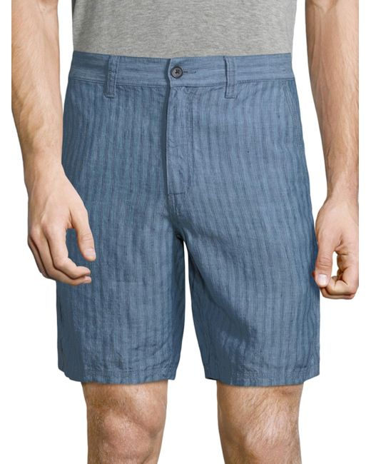 John Varvatos | Blue Triple Needle Linen Shorts for Men | Lyst