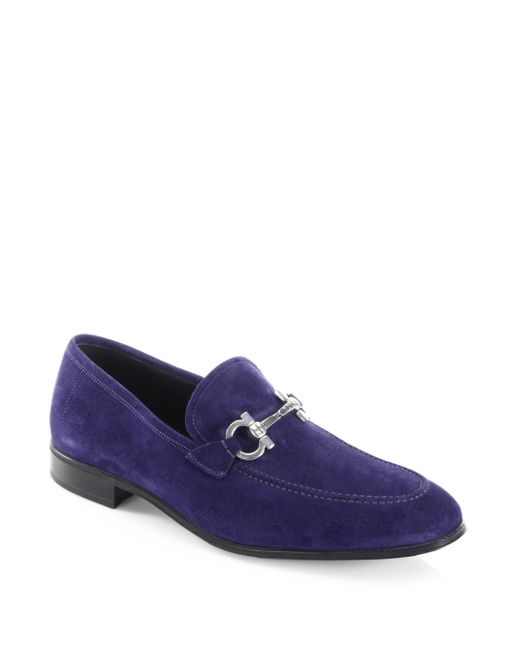 Ferragamo | Blue Flori 2 Suede Loafers for Men | Lyst