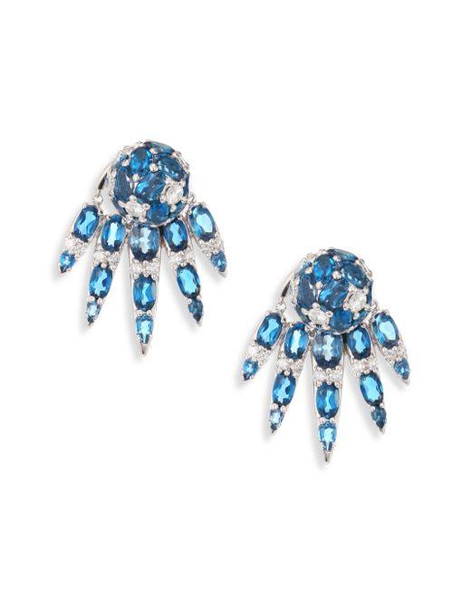 Nikos Koulis | Spectrum Diamond & London Blue Topaz Stud & Ear Jacket Set | Lyst