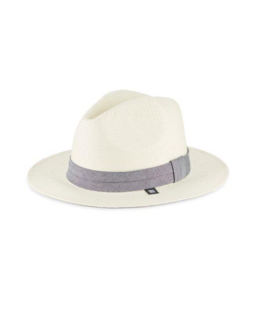 Block Headwear   White Straw & Chambray Panama Hat   Lyst