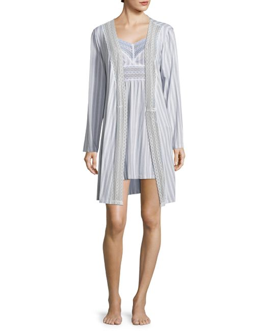 Saks fifth avenue lori striped robe lyst for Saks 5th avenue robes de mariage