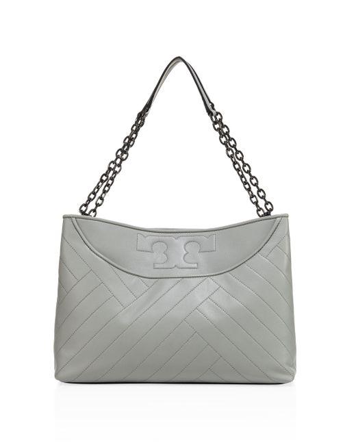Tory Burch | Gray Alexa Lamb Leather Convertible Shoulder Bag | Lyst
