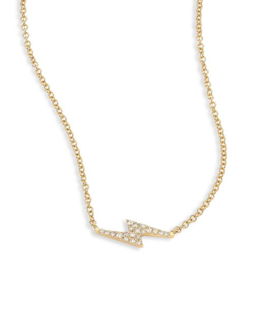 EF Collection | Metallic Lightning Bolt Diamond & 14k Yellow Gold Pendant Necklace | Lyst