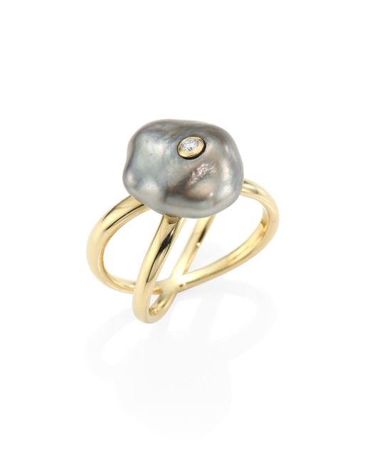 Mizuki | Metallic Diamond, 10mm Grey Baroque Tahitian Pearl & 14k Yellow Gold Crossover Ring | Lyst