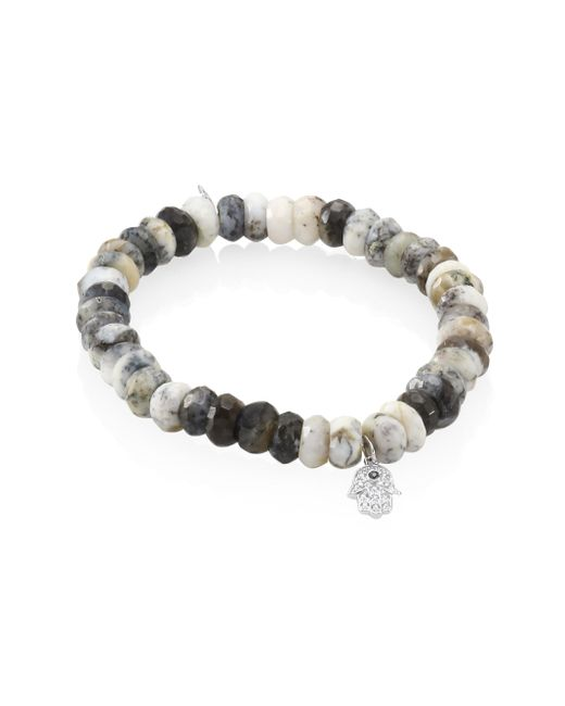 Sydney Evan | Gray Small Hamsa Diamond, Sapphire & Dendrite Opal Beaded Bracelet | Lyst