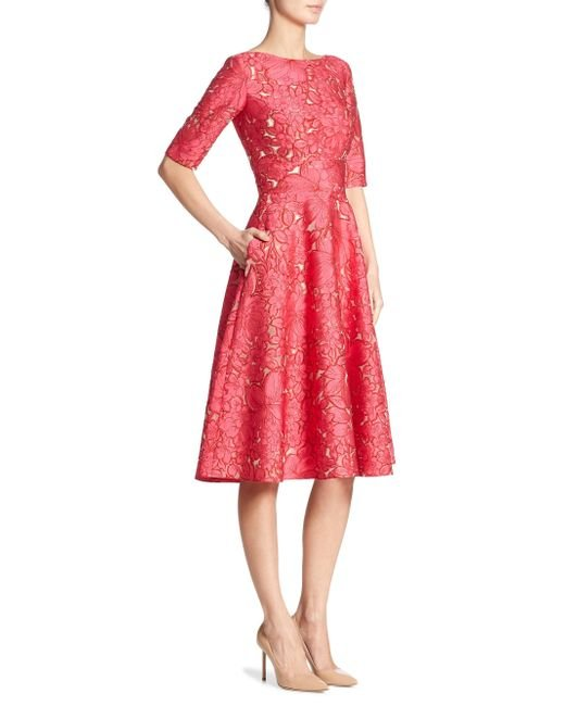Lela Rose | Red Elbow Sleeve Dress | Lyst