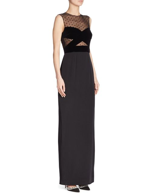 Monique Lhuillier | Black Sleeveless Illusion Gown | Lyst