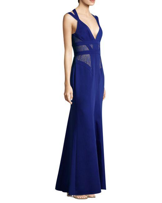 BCBGMAXAZRIA | Blue Sleeveless Lace Gown | Lyst