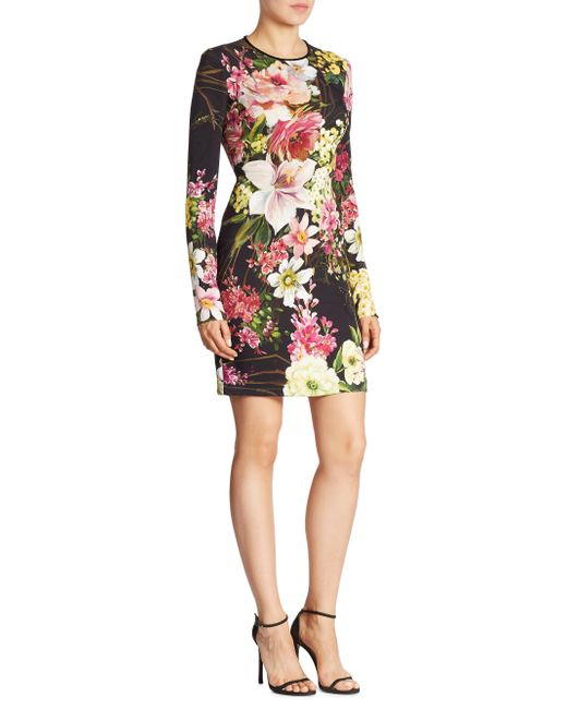 Naeem Khan | Black Long Sleeve Floral Dress | Lyst