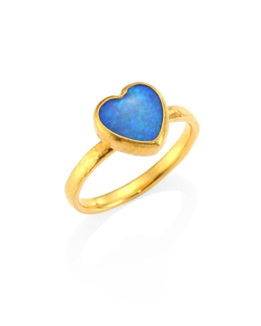 Gurhan   Metallic Amulet Hue Opal & 22-24k Yellow Gold Heart Ring   Lyst