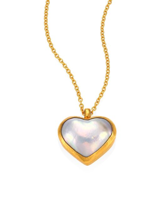 Gurhan | Metallic Amulet Hue 11mm White Mabe Pearl Heart & 18-24k Yellow Gold Pendant Necklace | Lyst