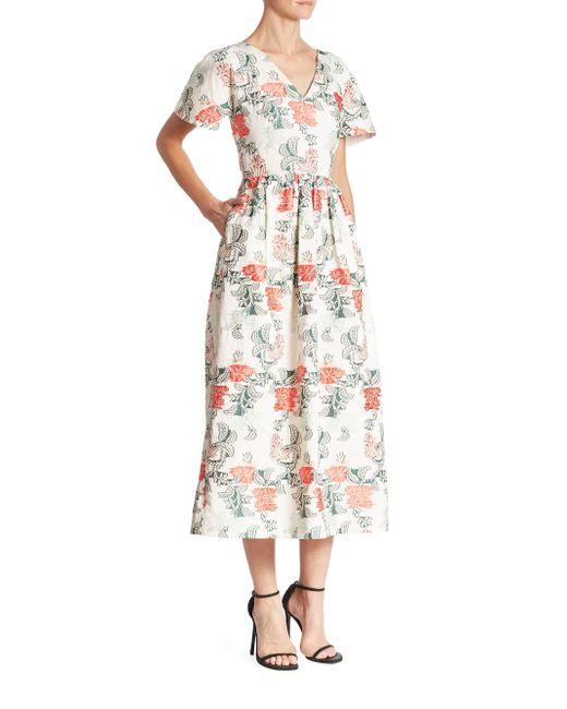 Oscar de la Renta | White Floral V-neck Dress | Lyst
