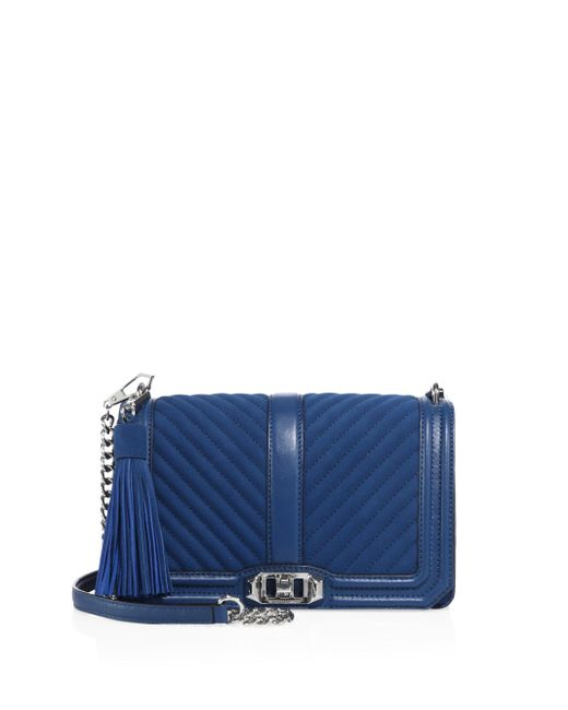 Rebecca Minkoff | Blue Chevron Quilted Love Leather & Suede Crossbody Bag | Lyst