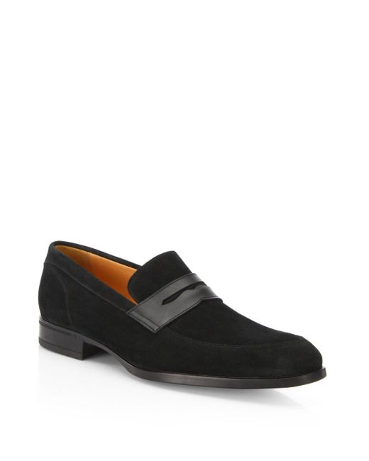Saks Fifth Avenue | Black Suede Penny Loafers for Men | Lyst